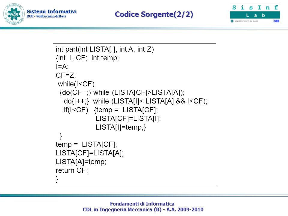 int part(int LISTA[ ], int A, int Z) {int I, CF; int temp; I=A; CF=Z;